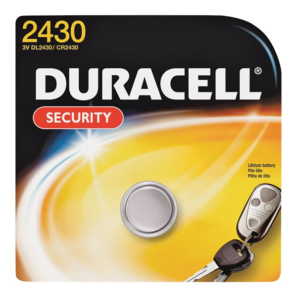 Picture of DURACELL DL2430BPK Coin Cell Battery, 3 V Battery, 270 mAh, CR2430 Battery, Lithium, Manganese Dioxide
