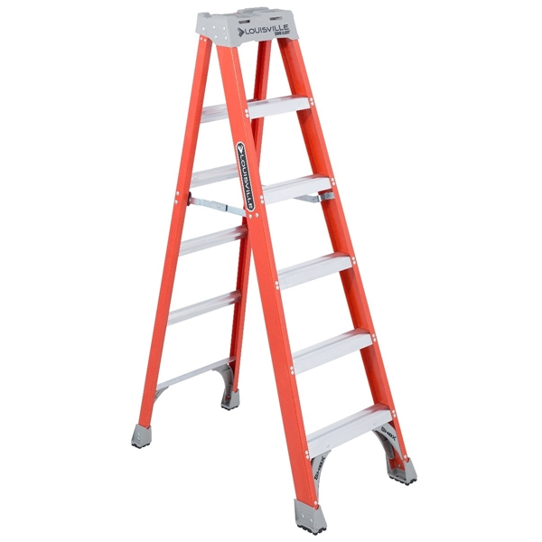 Picture of Louisville FS1506 Step Ladder, 125 in Max Reach H, 5-Step, 300 lb, Type IA Duty Rating, 3 in D Step, Fiberglass