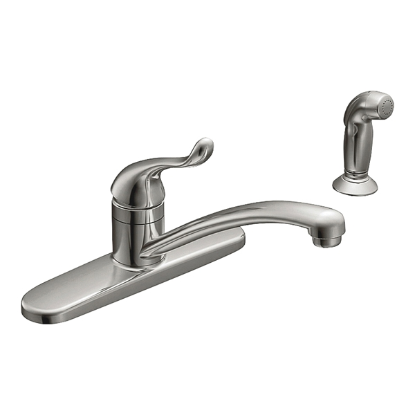 Picture of Moen Adler CA87530 Kitchen Faucet, 1.5 gpm, 1-Faucet Handle, Stainless Steel, Chrome, Deck Mounting, Lever Handle