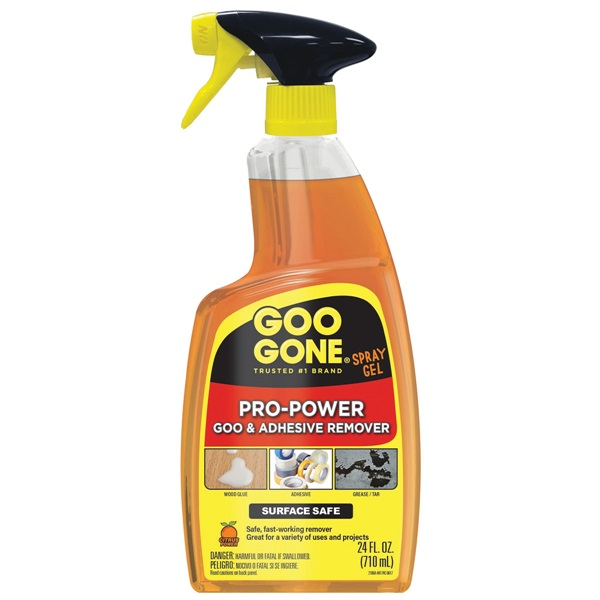 Picture of Goo Gone 2080 Stain and Adhesive Remover, 24 fl-oz Package, Bottle, Gel, Citrus, Yellow