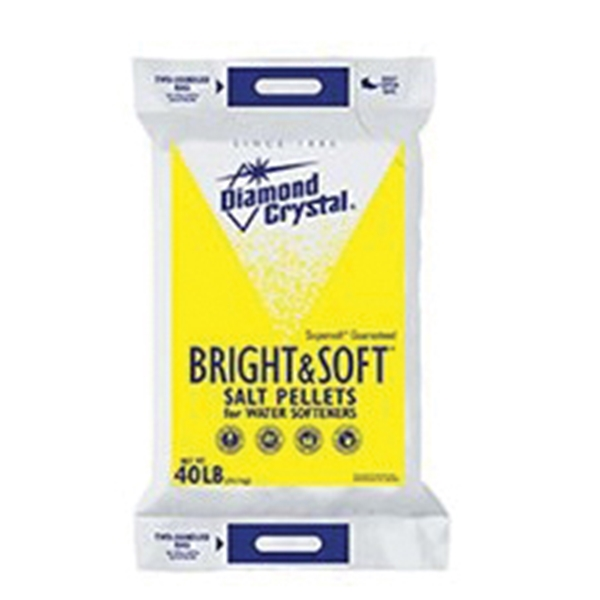 Picture of Cargill Diamond Crystal Bright & Soft 100012407 Salt Pellets, 40 lb Package, Bag, Crystalline Solid, Halogen