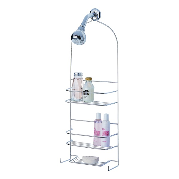 Picture of Simple Spaces SS-5786-PE-3L Shower Caddy, 10 in OAW, 27-3/4 in OAH, 4-1/4 in OAD