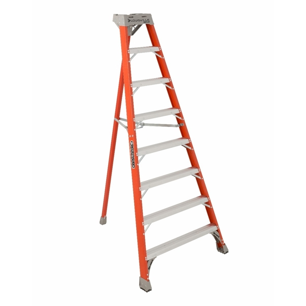 Picture of Louisville FT1508 Tripod Ladder, 147 in Max Reach H, 8-Step, 300 lb, Type IA Duty Rating, 3 in D Step, Fiberglass