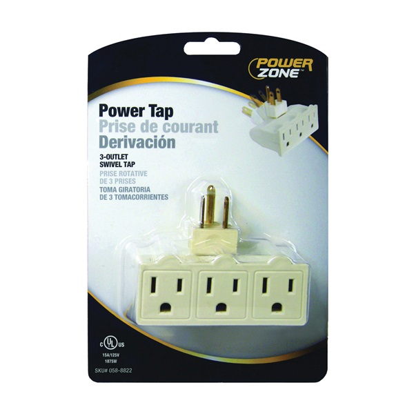 Picture of PowerZone OR101100 Power Tap, 15 A, 125 V, 3-Outlet
