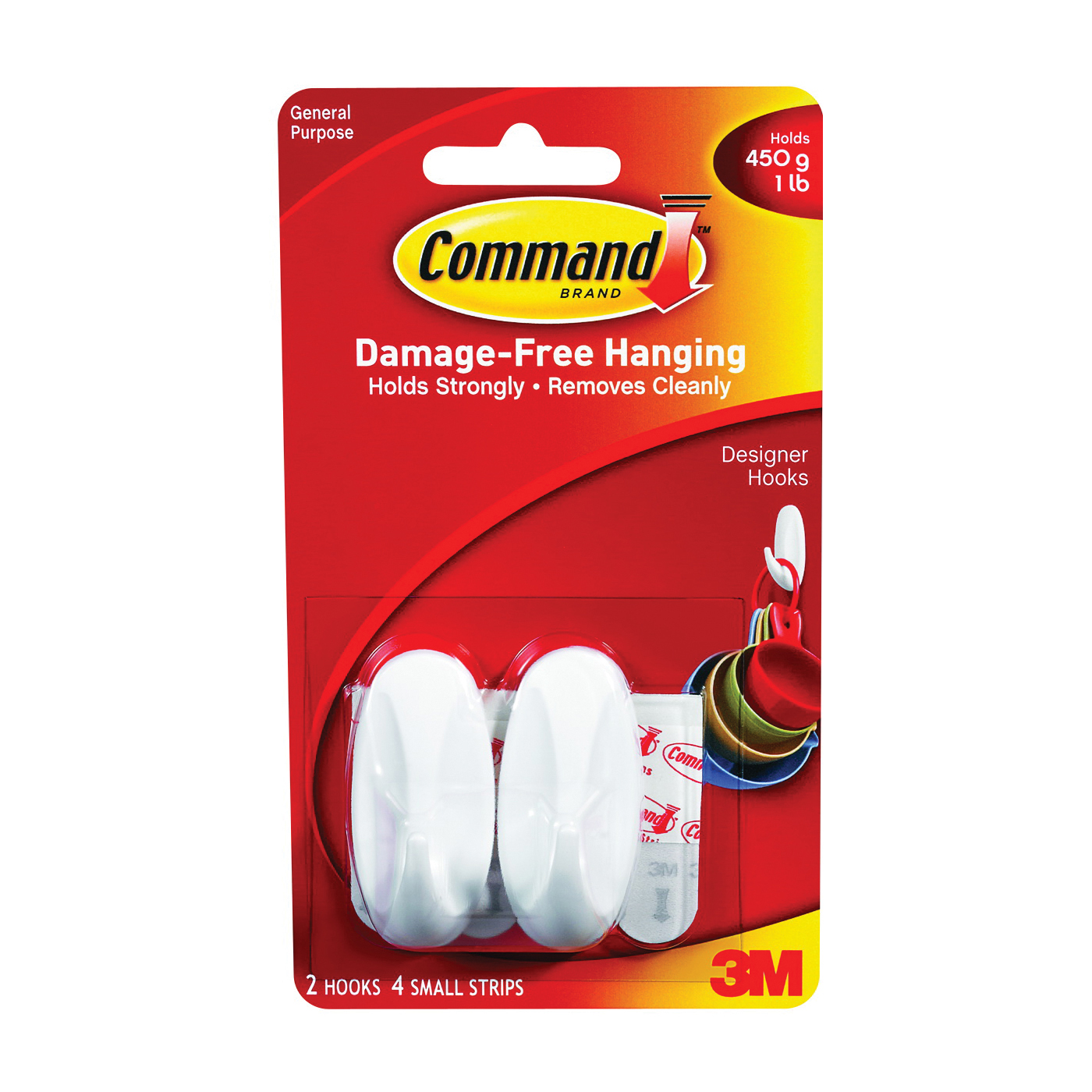 Picture of Command 17082 Designer Hook, 1/4 in Opening, 1 lb, 2-Hook, Plastic, White, 6, Pack
