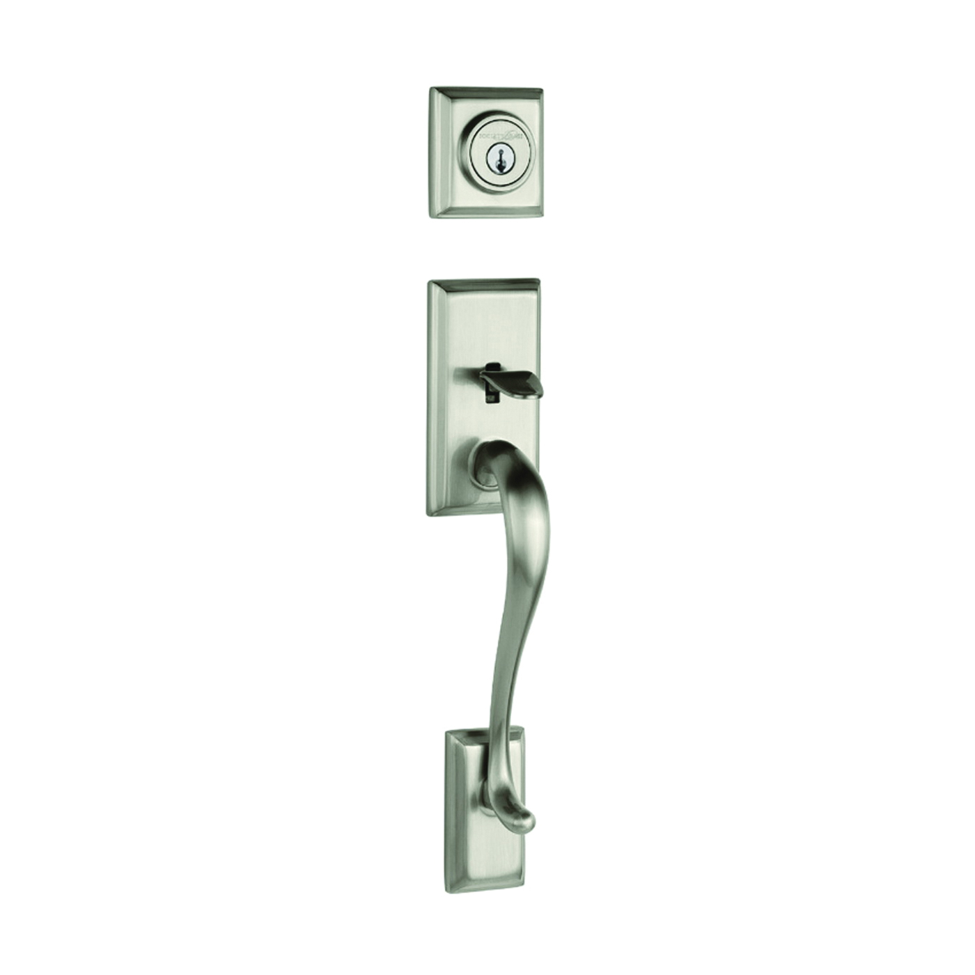 Picture of Kwikset 800HE-15 SMT Handleset, 1 Grade, Brass, Satin Nickel, 2-3/8 x 2-3/4 in Backset, KW1 Keyway, Residential