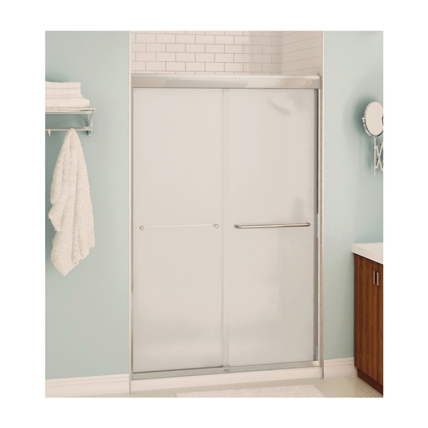 Picture of MAAX Aura 135663-900-305 Shower Door, Clear Glass, Tempered Glass, Semi Frame, 2-Panel, Glass, 1/4 in Glass