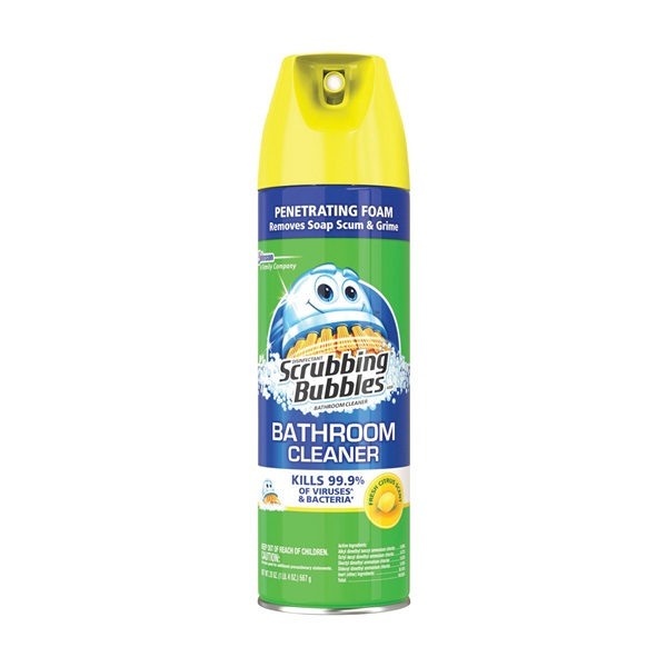 Picture of Scrubbing Bubbles 71362 Bathroom Cleaner, 22 oz Package, Aerosol Can, Pleasant Lemon, Yellow