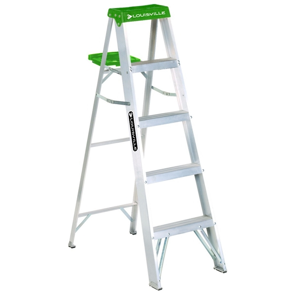 Picture of Louisville AS4005 Step Ladder, 113 in Max Reach H, 4-Step, 225 lb, Type II Duty Rating, 3 in D Step, Aluminum