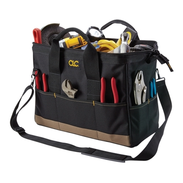 Picture of CLC Tool Works BIGMOUTH 1165 Tote Bag, 8-1/2 in W, 16 in D, 10 in H, 22 -Pocket, Polyester, Black/Khaki