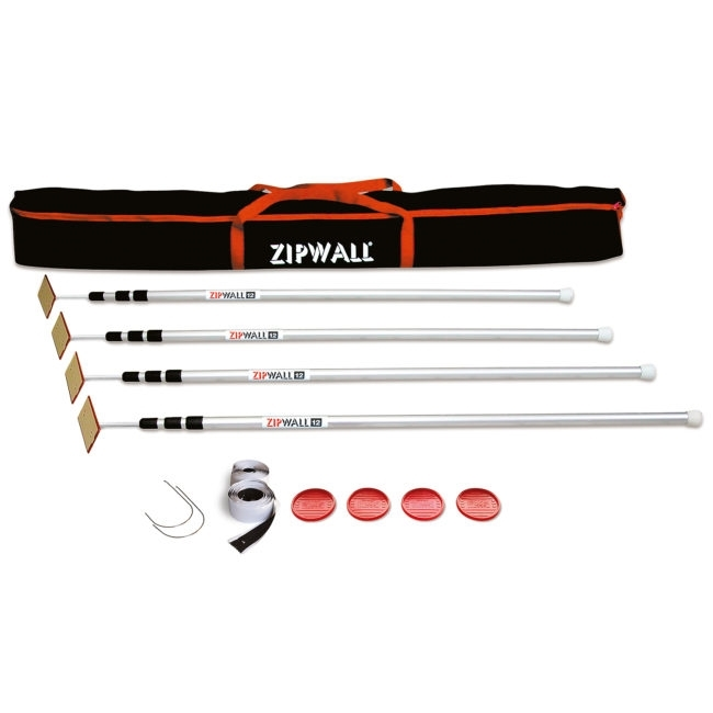 Picture of ZIPWALL SLP4 Dust Barrier Pole, Spring-Loaded, 12 ft L, Aluminum