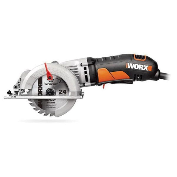 Picture of WORX WX429L Circular Saw, 120 V, 4 A, 400 W, 4-1/2 in Dia Blade, 1/2 in Arbor, 90 deg Bevel