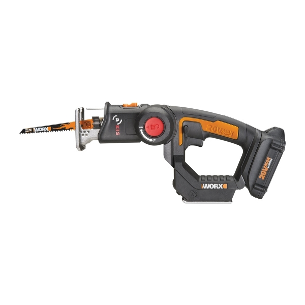 Picture of WORX Axis WX550L Reciprocating and Jig Saw, Kit, 20 V Battery, 1.5 Ah, 3/4 in L Stroke, Battery Included: Yes