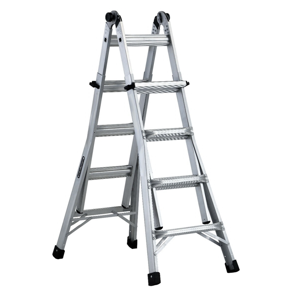Picture of Louisville L-2098-17 Multi-Purpose Ladder, 9 to 15 ft Max Reach H, 16-Step, Type IA Duty Rating, Aluminum