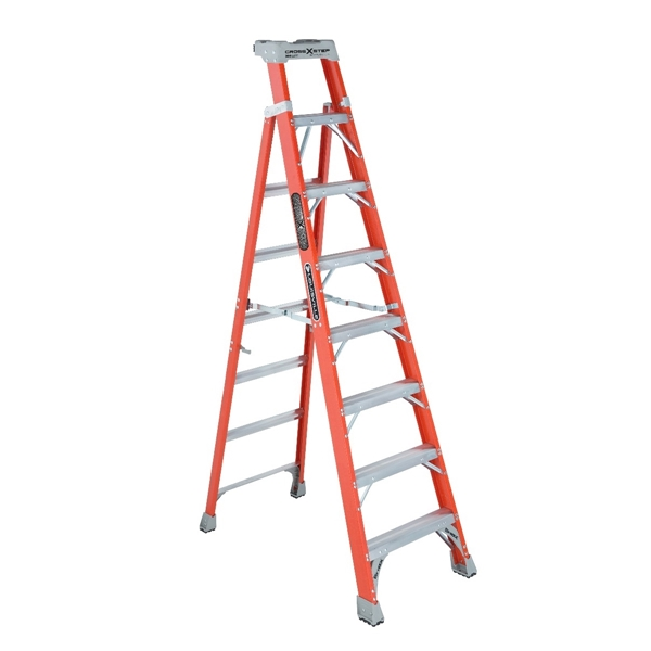 Picture of Louisville FXS1508 Cross Step Ladder, 147 in Max Reach H, 8-Step, 300 lb, Type IA Duty Rating, 3 in D Step