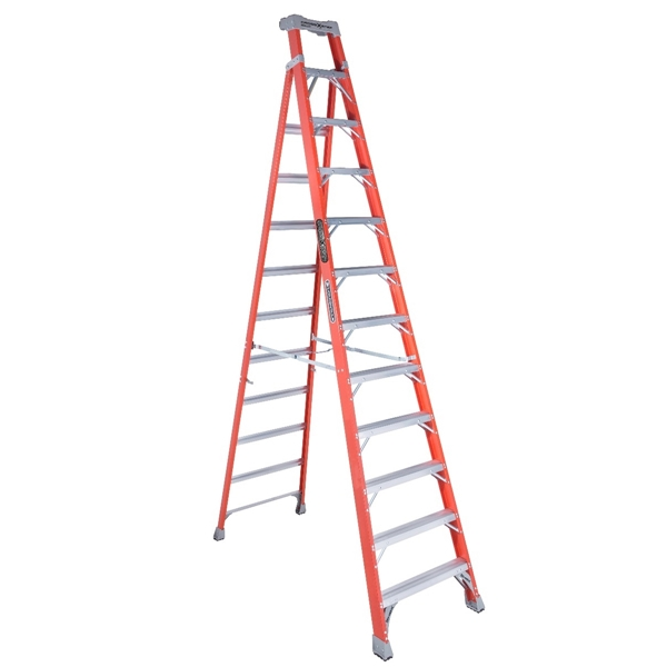 Picture of Louisville FXS1512 Cross Step Ladder, 193 in Max Reach H, 12-Step, 300 lb, Type IA Duty Rating, 3 in D Step