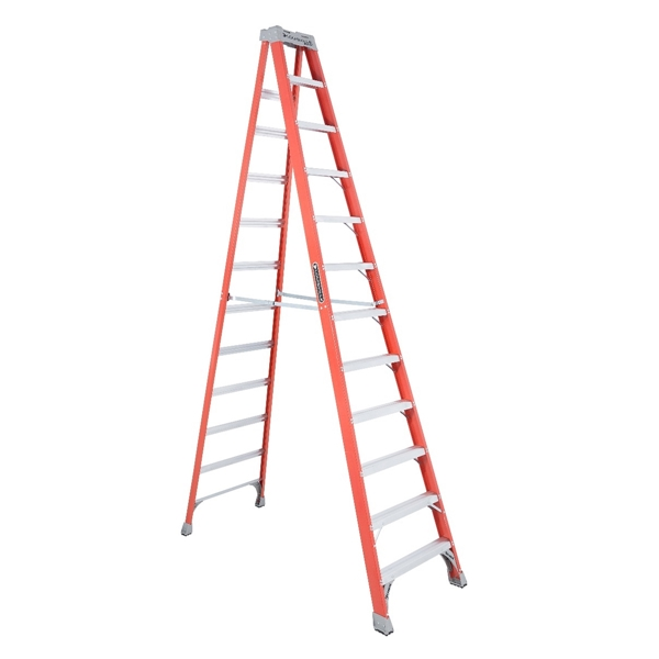 Picture of Louisville FS1512 Step Ladder, 193 in Max Reach H, 11-Step, 300 lb, Type IA Duty Rating, 3 in D Step, Fiberglass
