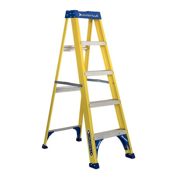 Picture of Louisville FS2005 Step Ladder, 113 in Max Reach H, 4-Step, 250 lb, Type I Duty Rating, 3 in D Step, Fiberglass