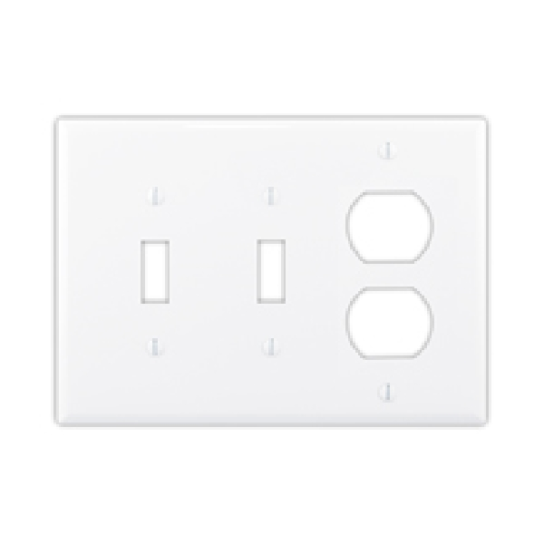 Picture of Eaton Wiring Devices PJ226LA Combination Wallplate, 6.76 in L, 4.87 in W, Mid, 3-Gang, Polycarbonate, High-Gloss