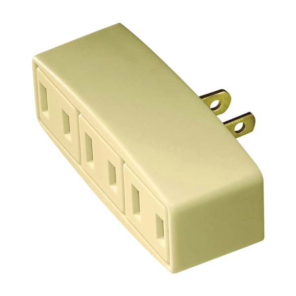 Picture of Eaton Wiring Devices BP1747V Outlet Adapter, 2-Pole, 15 A, 125 V, 3-Outlet, NEMA: 1-15R, Ivory