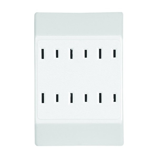 Picture of Eaton Wiring Devices C1746W Outlet Adapter, 2-Pole, 15 A, 125 V, 6-Outlet, NEMA: 1-15R, White
