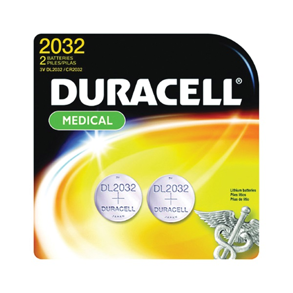 Picture of DURACELL DL2032B2PK Coin Cell Battery, 3 V Battery, 220 mAh, CR2032 Battery, Lithium, Manganese Dioxide