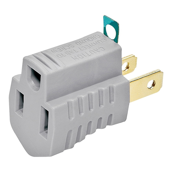 Picture of Eaton Wiring Devices 419GY Outlet Adapter with Grounding Lug, 2-Pole, 15 A, 125 V, 1-Outlet, NEMA: 1-15 to 5-15