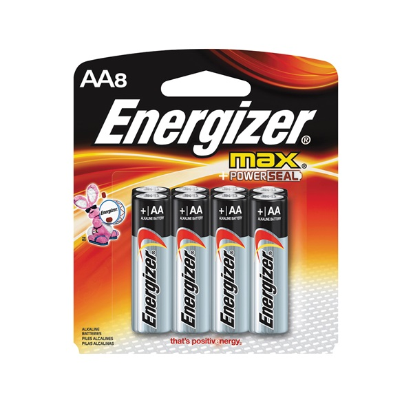 Picture of Energizer E91 Series E91MP-8 Alkaline Battery, 1.5 V Battery, 2850 mAh, AA Battery, Zinc, Manganese Dioxide, Red