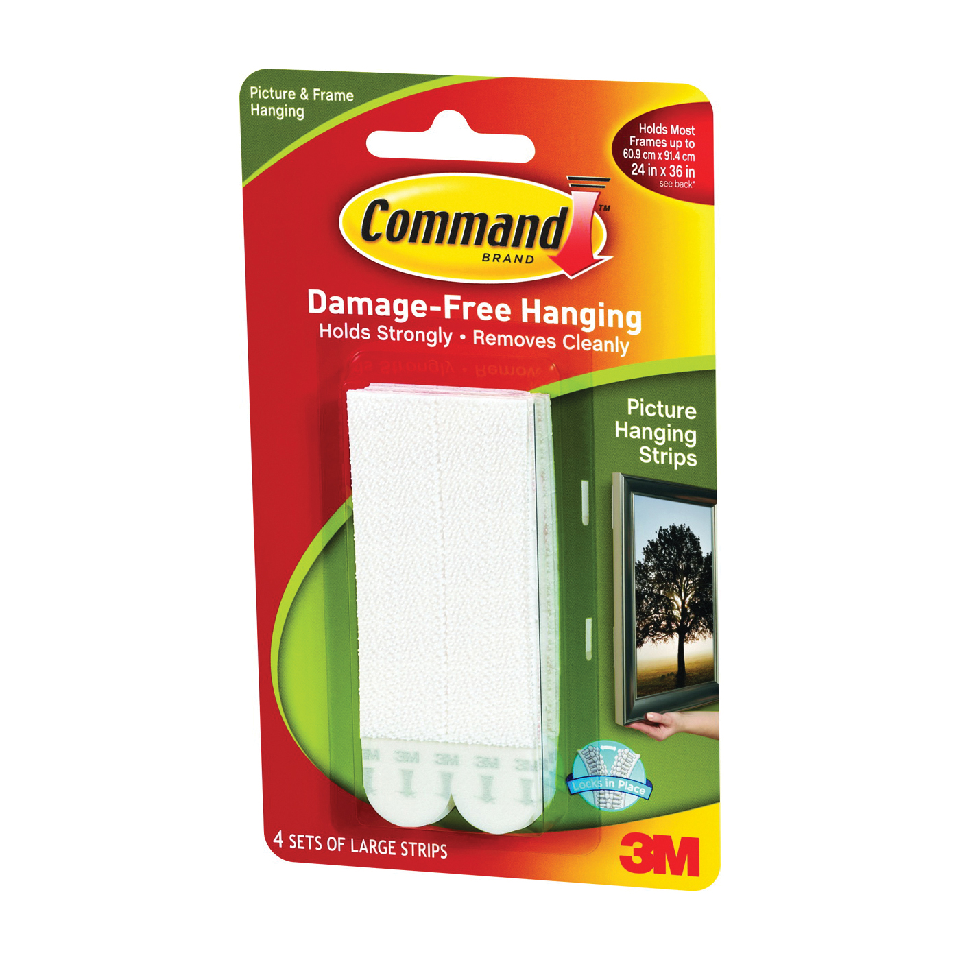 Picture of Command 17206 Picture Hanging Strip, 4 lb/set, Foam, White, 8, Pack