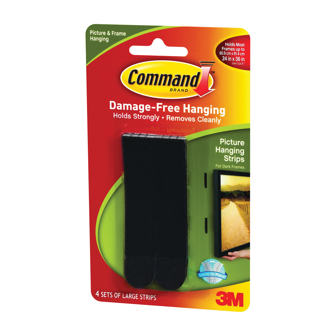 Picture of Command 17206BLK Picture Hanging Strip, 4 lb/set, Foam, White, 8, Pack