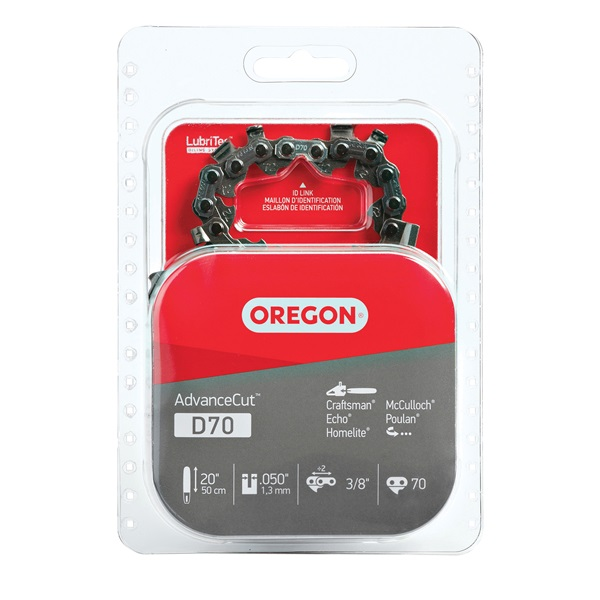 Picture of Oregon D70 Chainsaw Chain, 20 in L Bar, 0.05 Gauge, 3/8 in TPI/Pitch, 70 -Link