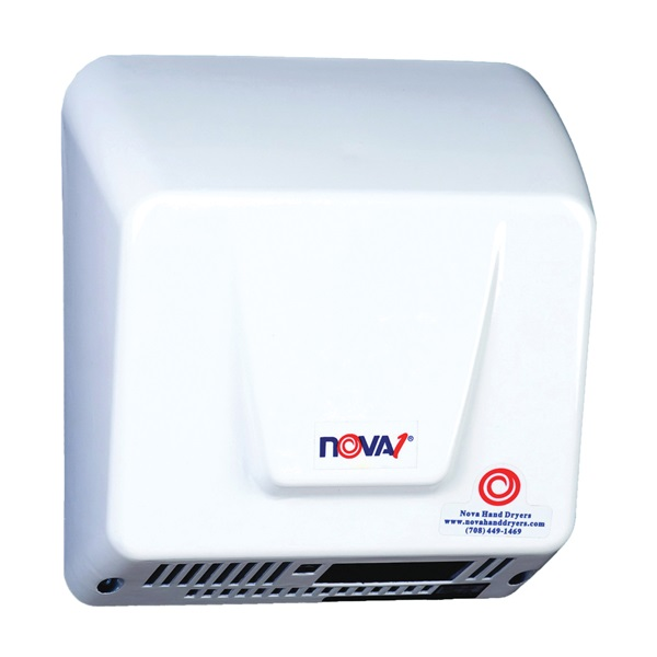 Picture of WORLD DRYER NOVA 1 083000000 Hand Dryer, 110/240 V, 1000 to 1700 W, 88 cfm Air, Aluminum, White
