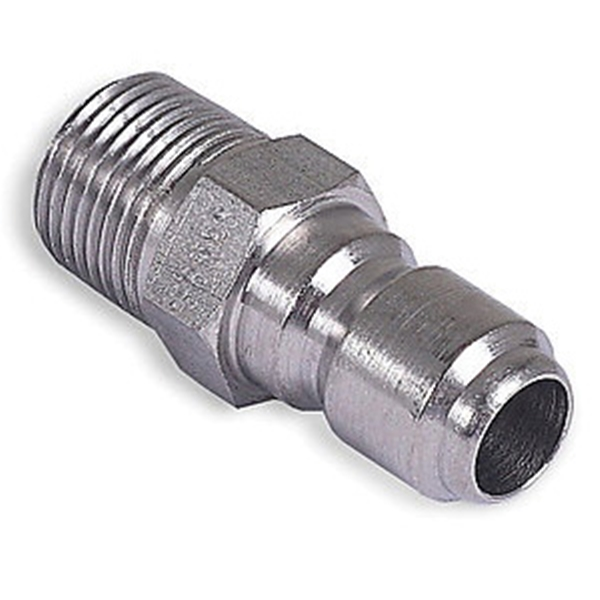 Picture of Mi-T-M AW-0017-0005 Quick-Connect Adapter, 3/8 x 3/8 in Connection, Plug x MNPT, Stainless Steel