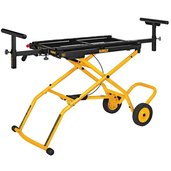Picture of DeWALT DWX726 Rolling Miter Saw Stand, 300 lb, 98 in W Stand, 32-1/2 in H Stand, Steel, Black/Yellow