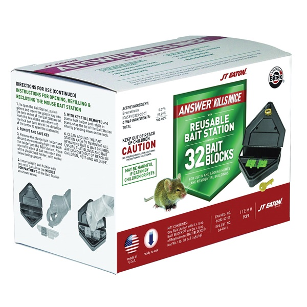 Picture of J.T. EATON Answer 939 Mouse Killer with Reusable Bait Station, 15 oz Bait, Green