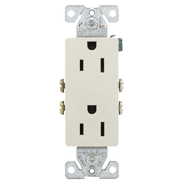 Picture of Arrow Hart 1107-9LA Duplex Receptacle Wallplate, 2-Pole, 15 A, 125 V, NEMA: 5-15R, Light Almond
