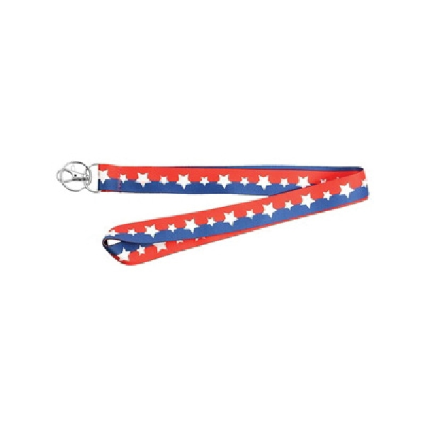 Picture of HY-KO 2GO LAN-103 Lanyard, 18 in L, 1 in W, Polyester, Blue/Red/White, Clip End