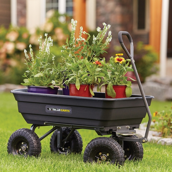 Picture of Gorilla Carts GOR4PS Dump Cart, 600 lb, 36 in L x 20 in W Deck, Poly Deck, 4 -Wheel, 10 in Wheel, Pneumatic Wheel
