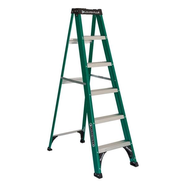 Picture of Louisville FS4006 Step Ladder, 124 in Max Reach H, 5-Step, 225 lb, Type II Duty Rating, 3 in D Step, Fiberglass