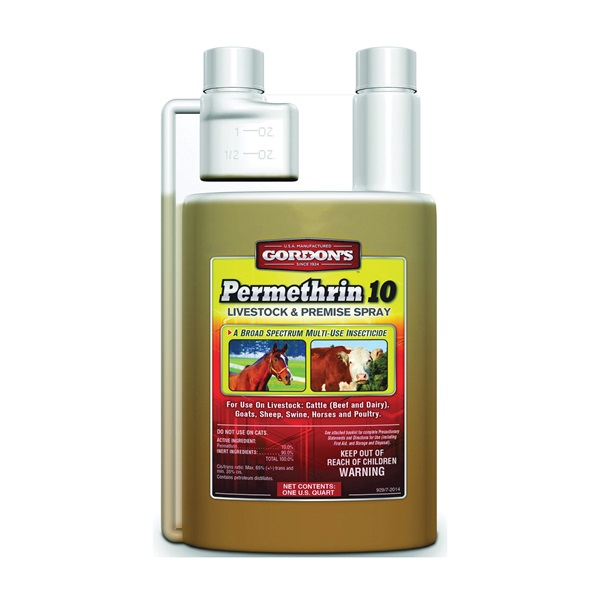 Picture of Gordon's 9291082 Livestock and Premise Spray, Liquid, Amber, Pungent, 1 qt Package