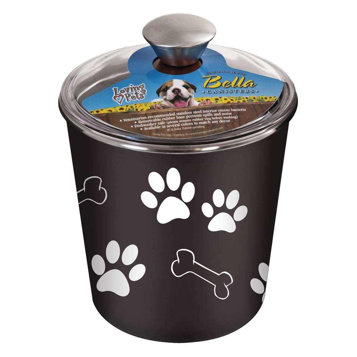 Picture of Loving Pets 7481 Pet Treat Canister, Plastic/Stainless Steel, Espresso