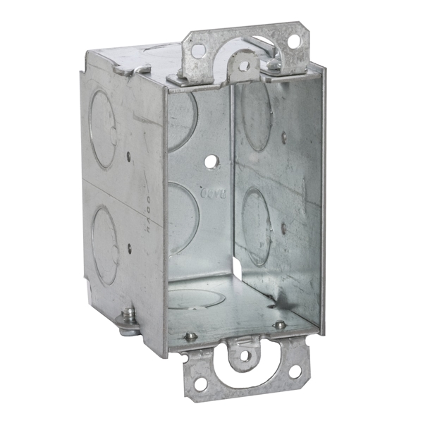 Picture of RACO 560 Switch Box, 1-Gang, 1-Outlet, 8-Knockout, 1/2 in Knockout, Steel, Gray, Galvanized, Thread Mounting