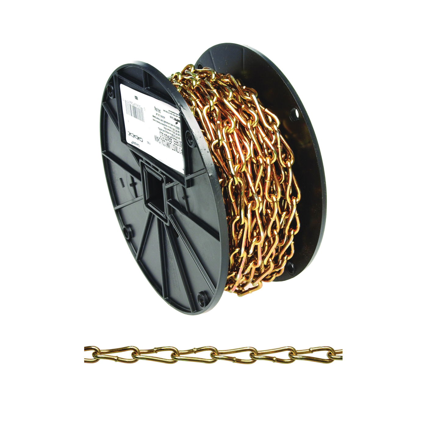Picture of Campbell 0723167 Twist Link Coil Chain, #3 Trade, 50 ft L, 240 lb Working Load, Steel, Brass