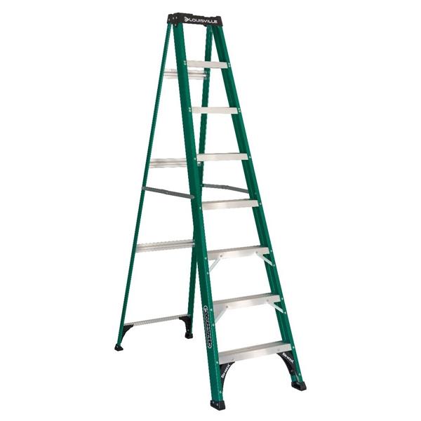 Picture of Louisville FS4008 Step Ladder, 147 in Max Reach H, 7-Step, 225 lb, Type II Duty Rating, 3 in D Step, Fiberglass