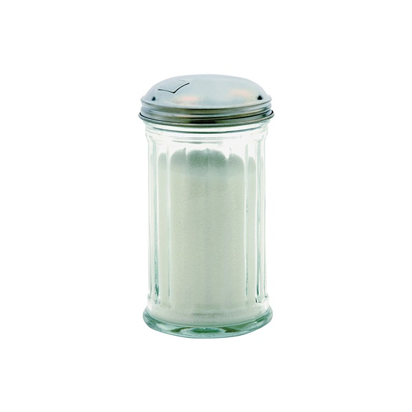 Picture of Oneida 97286 Sugar Dispenser, 12 oz Capacity, Glass/Stainless Steel, Clear