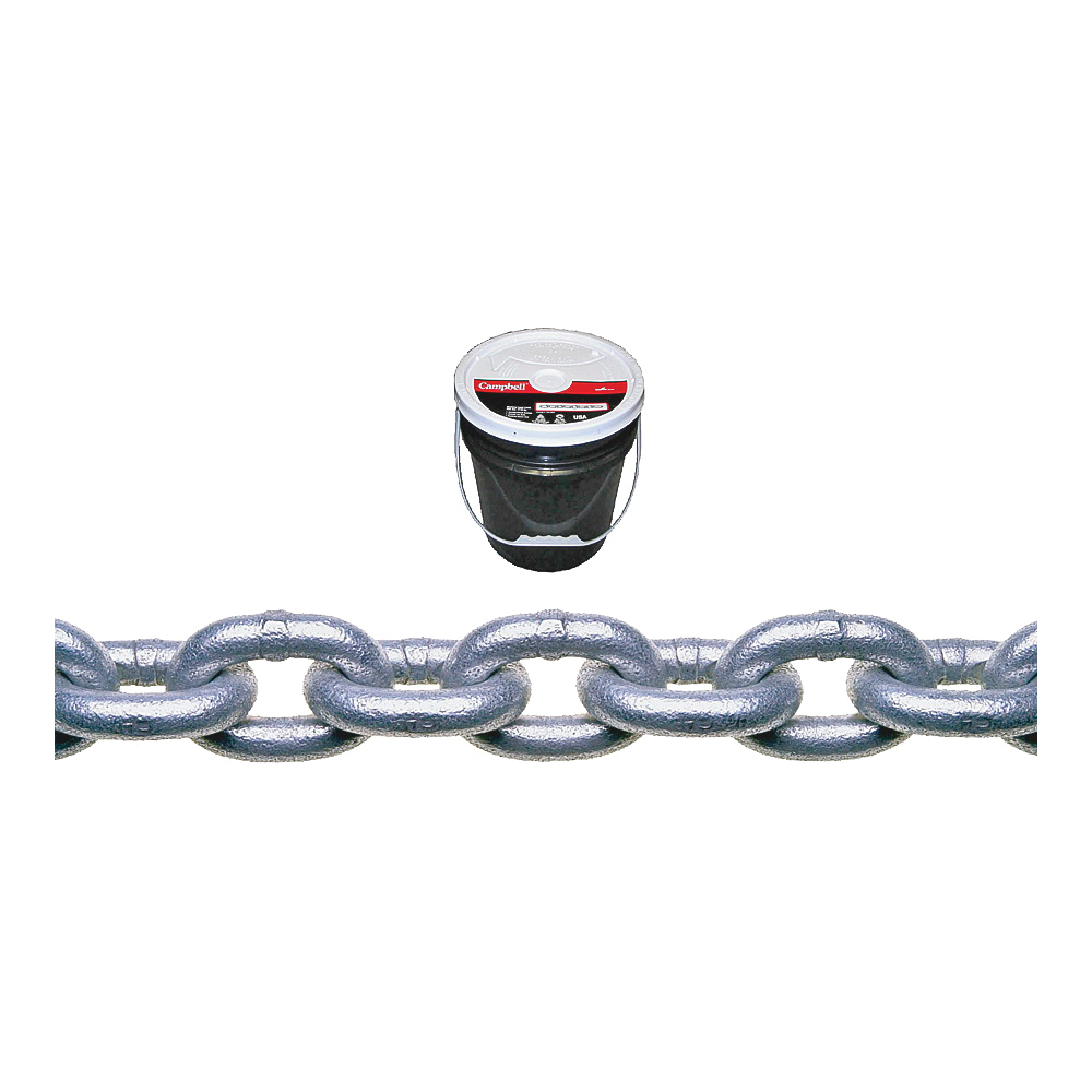 Picture of Campbell 014-0333 Proof Coil Chain, 3/16 in Trade, 250 ft L, 30 Grade, Galvanized Steel, Round Pail