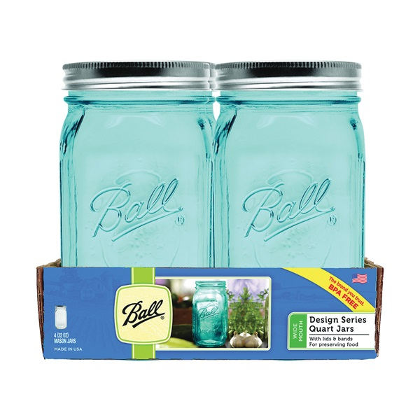 Picture of Ball Collection Elite Series 1440069024 Mason Jar, 32 oz Capacity, Glass, Silver Cap/Lid