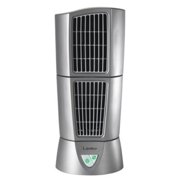 Picture of Lasko Wind Tower 4910 Desktop Tower Fan, 120 V, 3-Speed, 114 cfm Air, Platinum