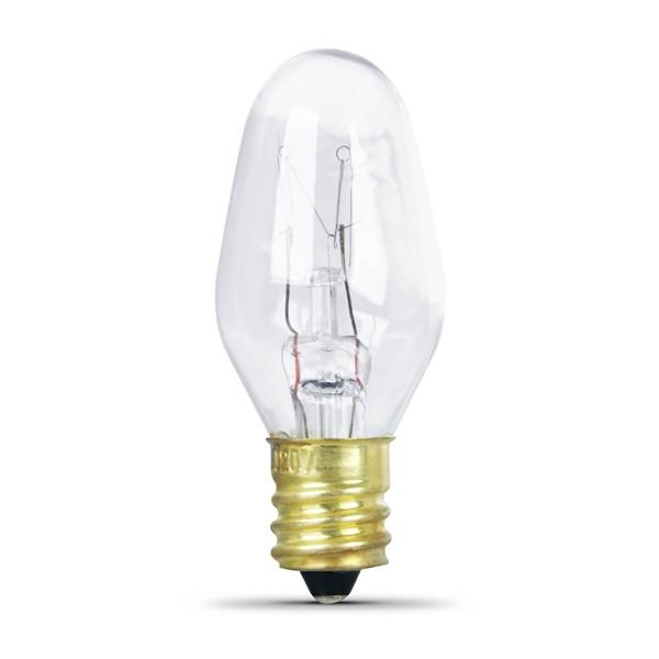 Picture of Feit Electric BP7C7/4 Incandescent Lamp, 7 W, Candelabra E12 Lamp Base, 2700 K Color Temp, 3000 hr Average Life
