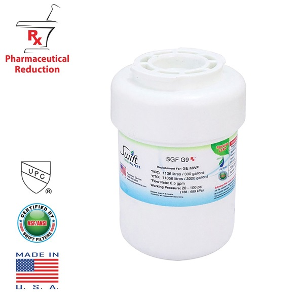 Picture of SWIFT GREEN FILTERS SGF-G9 RX Refrigerator Water Filter, 0.5 gpm, Coconut Shell Carbon Block Filter Media